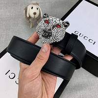 GG hot sale classic diamond-studded panther head buckle belt fashion men's and women's belts