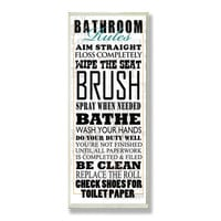 Stupell Industries Home Décor Bathroom Rules Typography Tall Rectangle Textual Art Plaque