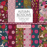 Autumn Floral Digital Paper. Fall Rose, Peony Scrapbook Paper. Gray, Burgundy, Olive, Pink, Red Shabby, Rustic Hand Drawn Floral Background.
