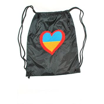 """Embroidered drawstring backpack """"Ukie heart"""""""