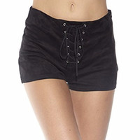 Elle Suede Lace Up High Waisted Shorts