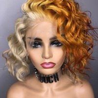 """12"""" Brazilian Lace Front Wig  Blonde Mixed With Ginger Color-Spice Custom Collection"""