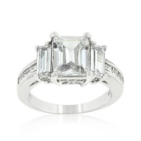 Alina Emerald Three Stone Engagement Ring | 6ct | Cubic Zirconia | Silver