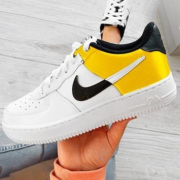 Nike NIKE AIR FORCE 1 AF1 silk stitching high and low to help NBA joint sneakers contrast Shoes Yellow Tail