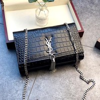 YSL crocodile pattern female tassel chain bag shoulder bag