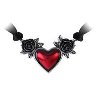 Gothic Ruby Red Heart and Rose Necklace