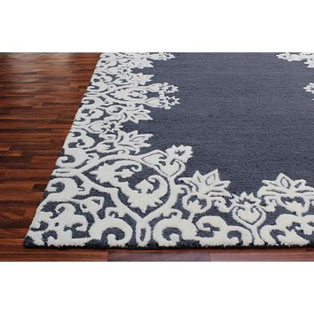 Laguna Blue & White Color Hand Tufted Persian Style Woolen Area Rug