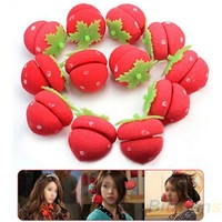 12pcs Strawberry Balls Hair Care Soft Sponge Roll Rollers Styling Curlers Lovely DIY Tools 0551