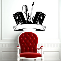 Wall Decal Music Microphone Guitar Speakers Musical Instrument Design Wall Decals Rehearsal Room Bedroom Garage Home Decor 3840