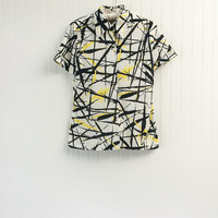 1960s vintage black white & neon yellow abstract paint blouse Mod graphic art print // collar short sleeves // size M