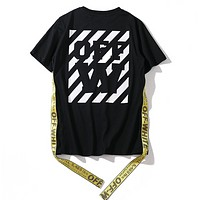 Off White New fashion letter stripe print couple top t-shirt Black