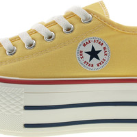 Maxstar Women's C50 6 Holes Platform Canvas Low Top Sneakers Yellow