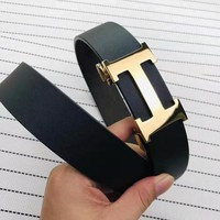 Hermes Newest Fashion Women Men H Letter Smooth Buckle Leather Belt