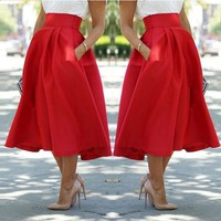 HOT RED SKIRT