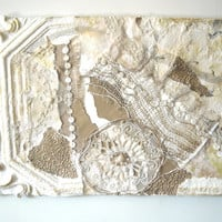 Cottage Chic Mixed Media Assemblage, Shabby Chic Collage, Gold and White Fiber Art,