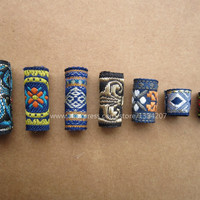 Free shipping 7Pcs/Lot mix fabric set for hair braid dread dreadlock beads clips cuff approx 8-12mm hole NO.04