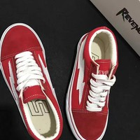 REVENGE x STORM NEW size35-44 New Unisex Low-Top & High-Top Adult Men's Canvas Shoes 2 colors Laced Up Casual Shoes Sneaker shoes red