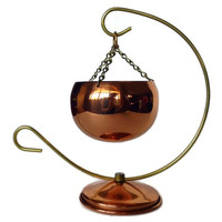 Coppercraft Hanging Planter, Copper Bowl, Brass Chain Stand, Succulent Planter