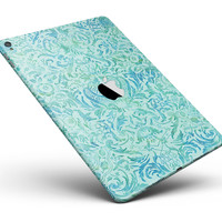 "Aqua Damask v2 Watercolor Pattern Full Body Skin for the iPad Pro (12.9"" or 9.7"" available)"