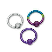 018 Gauge Captive Bead Ring Set in Multi-Colored Titanium-Plated Stainless Steel - - View All - PAGODA.COM