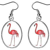 "Pink Flamingo 1"" Silver Hypoallergenic Steel Earrings"