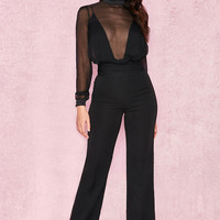 Clothing : Bodysuits : 'Omaira' Black Satin + Chiffon Plunge Bodysuit