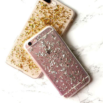 iPhone X 8 7 6s 6 Plus Case Holographic Silver Reflective Flakes Glitter Sparkle Bling iPhone X Case iPhone 8 Case iPhone 7 6s 6 Plus Cover