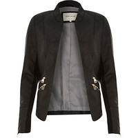 River Island Womens Black fitted leather-look zip side jacket