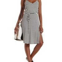 White Combo String-Belted Striped Midi Dress by Charlotte Russe