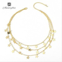Amaiyllis New Punk Metal Layer Stars Pendant Choker Necklaces 3 Row/set Statement Charms Choker Collar Trendy Clavicle Necklace