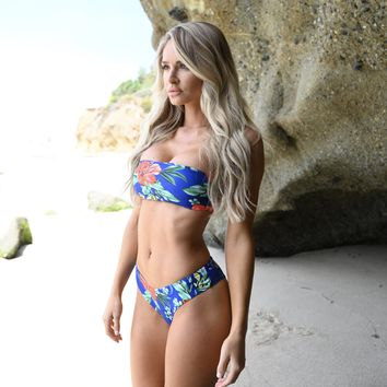 While In Monaco Floral Bikini Set in Blue
