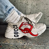 GG Rhyton Printed Distressed Leather Sneakers Shoes