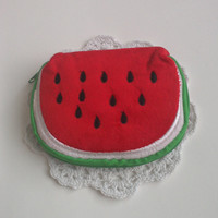 watermelon plush coin purse