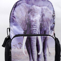 Elephant Print Small Backpack