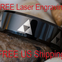 Tungsten Wedding Ring 7mm Black Beveled Legend of Zelda Triforce Design-Free Inside Engraving