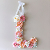 """Flower Letters, Floral Letters, Vintage wedding decor / Personalized nursery wall decor, Baby shower, 45 cm/17.8"""" wall art, Photography Prop"""