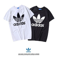 """Adidas"" Fashion Casual Letter Print Clover Cotton Short Sleeve Loose T-shirt Sportswear Tops"