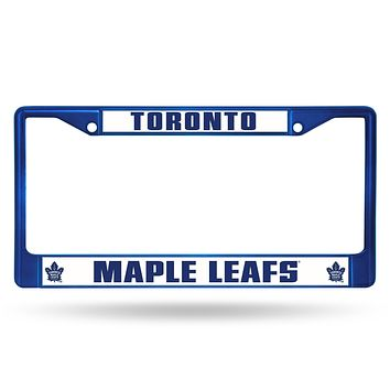 Best License Plate Frame Maple Leafs Blue Colored Chrome Frame