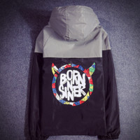 Supreme Unisex Lighting Windbreaker Supreme Thin and thick Reflective clothes Born sinner letters hoodies Back