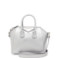 Antigona Mini Leather Satchel Bag, Silver - Givenchy