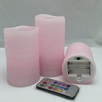 Adoria Pink Flameless Candle Rustic Wax Auto-Cycle 24hour Timer , Remote control Set of 3 , tall 4,5, 6inch,Rose Scented