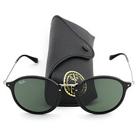 Ray-Ban RB2447 901 Round Fleck Sunglasses Black Frame / Green Lens 52mm