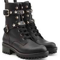 Leather Ankle Boots with Star Studs - RED Valentino | WOMEN | KR STYLEBOP.COM