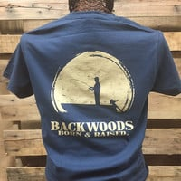 Backwoods Born & Raised Fishing Boat Country Bright Unisex T Shirt