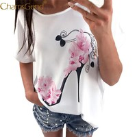 Free Shipping Womens Casual Pink Flower High Heel Shoes Print Short Sleeve White T Shirt 80521 Drop Shipping