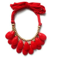 Last one RED Drop necklace Antropologie inspired bib statement necklace New years Large necklace