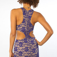 The Vivian Lace Cutout Dress in Cobalt by One Rad Girl | PLNDR.com