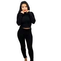 Soft Side Fur Lounge Pant Set - Black