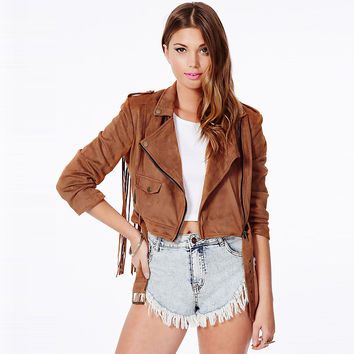 Brown Long Sleeve Cropped Jacket with Back Tassel