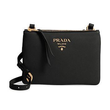 Prada Vitello Phenix Leather Gold Hardware Black Crossbody 1BH046